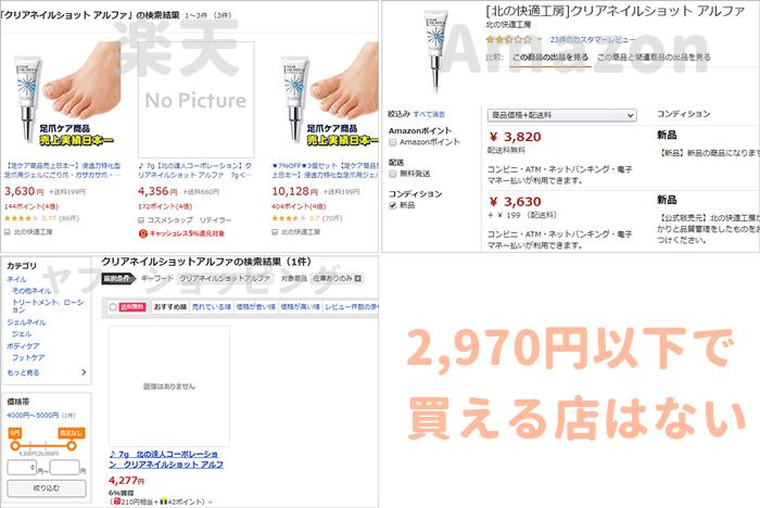 楽天・Amazon・ヤフーショッピングの価格